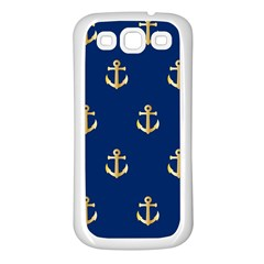 Gold Anchors Background Samsung Galaxy S3 Back Case (white)