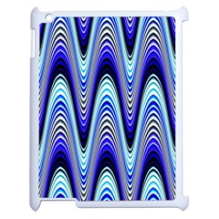 Waves Wavy Blue Pale Cobalt Navy Apple Ipad 2 Case (white)