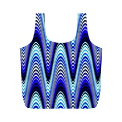 Waves Wavy Blue Pale Cobalt Navy Full Print Recycle Bags (m)