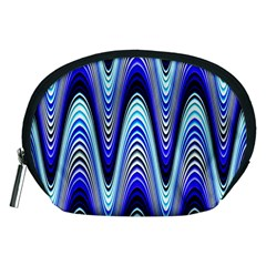 Waves Wavy Blue Pale Cobalt Navy Accessory Pouches (medium)