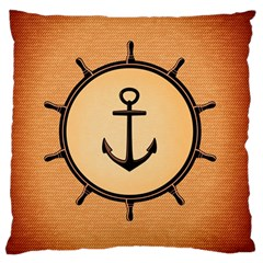 Nautical Anchor Marine Ocean Sea Large Flano Cushion Case (one Side)