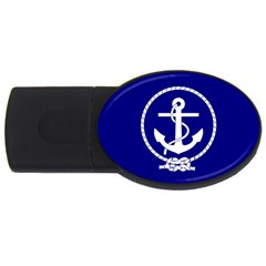 Anchor Flag Blue Background Usb Flash Drive Oval (4 Gb)