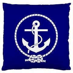 Anchor Flag Blue Background Large Flano Cushion Case (two Sides)