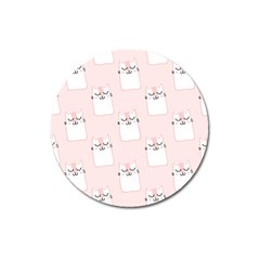 Pattern Cat Pink Cute Sweet Fur Magnet 3  (round)
