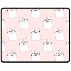 Pattern Cat Pink Cute Sweet Fur Double Sided Fleece Blanket (medium)