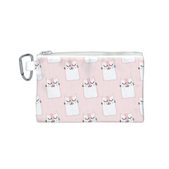 Pattern Cat Pink Cute Sweet Fur Canvas Cosmetic Bag (s)