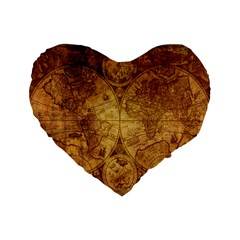 Map Of The World Old Historically Standard 16  Premium Flano Heart Shape Cushions