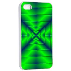 Shiny Lime Navy Sheen Radiate 3d Apple Iphone 4/4s Seamless Case (white)