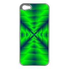Shiny Lime Navy Sheen Radiate 3d Apple Iphone 5 Case (silver)