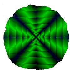 Shiny Lime Navy Sheen Radiate 3d Large 18  Premium Flano Round Cushions