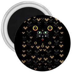 Merry Black Cat In The Night And A Mouse Involved Pop Art 3  Magnets