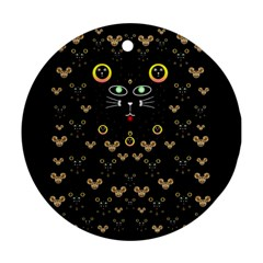 Merry Black Cat In The Night And A Mouse Involved Pop Art Ornament (round)