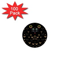 Merry Black Cat In The Night And A Mouse Involved Pop Art 1  Mini Buttons (100 Pack)