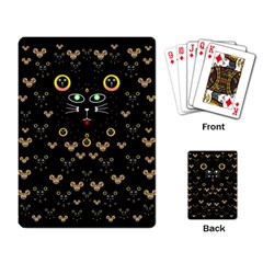 Merry Black Cat In The Night And A Mouse Involved Pop Art Playing Card