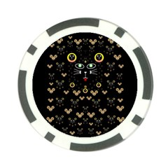 Merry Black Cat In The Night And A Mouse Involved Pop Art Poker Chip Card Guard (10 Pack)