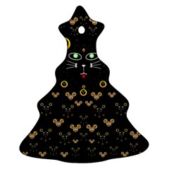 Merry Black Cat In The Night And A Mouse Involved Pop Art Christmas Tree Ornament (two Sides)
