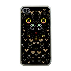 Merry Black Cat In The Night And A Mouse Involved Pop Art Apple Iphone 4 Case (clear)