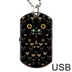 Merry Black Cat In The Night And A Mouse Involved Pop Art Dog Tag Usb Flash (one Side)