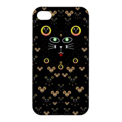 Merry Black Cat In The Night And A Mouse Involved Pop Art Apple Iphone 4/4s Hardshell Case