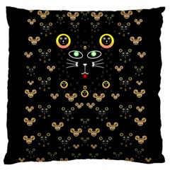 Merry Black Cat In The Night And A Mouse Involved Pop Art Large Cushion Case (one Side)