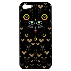 Merry Black Cat In The Night And A Mouse Involved Pop Art Apple Iphone 5 Hardshell Case