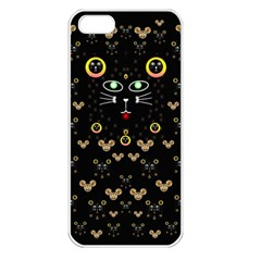 Merry Black Cat In The Night And A Mouse Involved Pop Art Apple Iphone 5 Seamless Case (white)