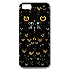 Merry Black Cat In The Night And A Mouse Involved Pop Art Apple Seamless Iphone 5 Case (clear)