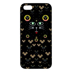 Merry Black Cat In The Night And A Mouse Involved Pop Art Iphone 5s/ Se Premium Hardshell Case