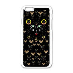 Merry Black Cat In The Night And A Mouse Involved Pop Art Apple Iphone 6/6s White Enamel Case