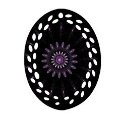 Fractal Mandala Delicate Pattern Oval Filigree Ornament (two Sides)
