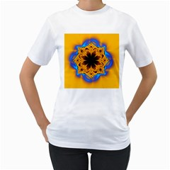 Digital Art Fractal Artwork Flower Women s T Shirt (white)