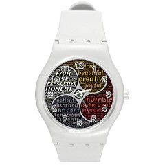 Person Character Characteristics Round Plastic Sport Watch (m)