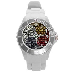 Person Character Characteristics Round Plastic Sport Watch (l)