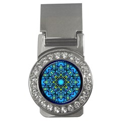 Mandala Blue Abstract Circle Money Clips (cz)