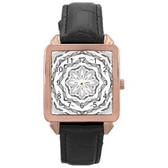 Mandala Pattern Floral Rose Gold Leather Watch