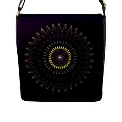 Fractal Purple Mandala Violet Flap Messenger Bag (l)