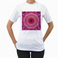Flower Mandala Art Pink Abstract Women s T Shirt (white)