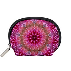 Flower Mandala Art Pink Abstract Accessory Pouches (small)