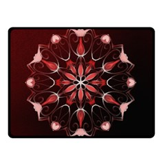 Mandala Red Bright Kaleidoscope Double Sided Fleece Blanket (small)