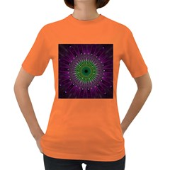 Purple Mandala Fractal Glass Women s Dark T Shirt