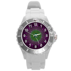 Purple Mandala Fractal Glass Round Plastic Sport Watch (l)