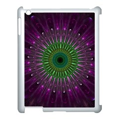 Purple Mandala Fractal Glass Apple Ipad 3/4 Case (white)