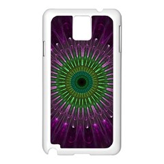 Purple Mandala Fractal Glass Samsung Galaxy Note 3 N9005 Case (white)