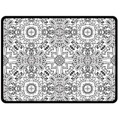 Mandala Pattern Line Art Double Sided Fleece Blanket (large)