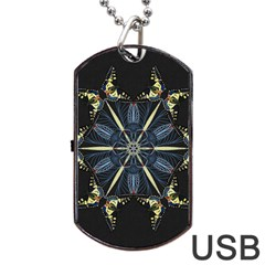 Mandala Butterfly Concentration Dog Tag Usb Flash (two Sides)