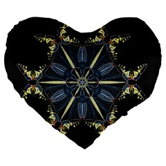 Mandala Butterfly Concentration Large 19  Premium Heart Shape Cushions