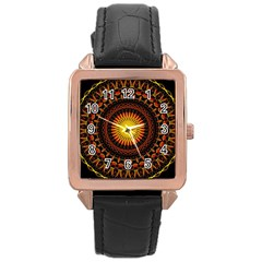 Mandala Psychedelic Neon Rose Gold Leather Watch