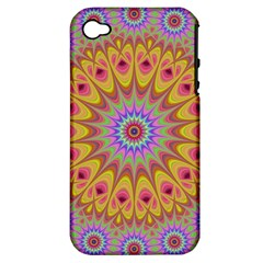 Geometric Flower Oriental Ornament Apple Iphone 4/4s Hardshell Case (pc+silicone)