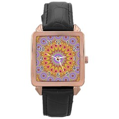 Geometric Flower Oriental Ornament Rose Gold Leather Watch