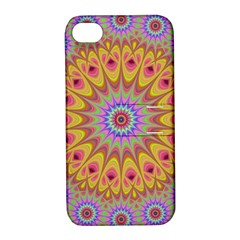 Geometric Flower Oriental Ornament Apple Iphone 4/4s Hardshell Case With Stand